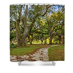 Two Paths Diverged In A Live Oak Wood...  Shower Curtain by Steve Harrington