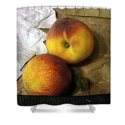Two Peaches Shower Curtain by Miriam Danar