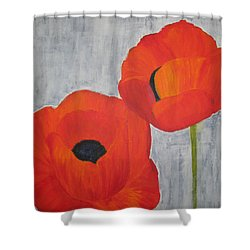 Two Poppies And Old Denim Shower Curtain