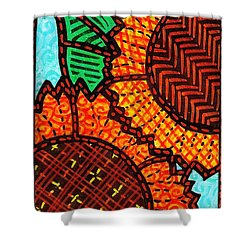 Two Quilted Sunflowers Shower Curtain by Jim Harris