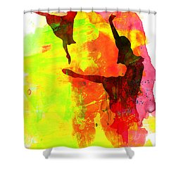 Two Red Ballerinas Watercolor  Shower Curtain by Naxart Studio
