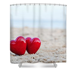 Two Red Hearts On The Beach Symbolizing Love Shower Curtain