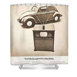 Two Ridiculous Gimmicks Of The 1940s Shower Curtain by Georgia Fowler