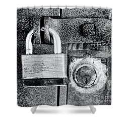 Two Rusty Old Locks - Bw Shower Curtain