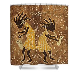 Two Sax Players Shower Curtain by Katherine Young-Beck