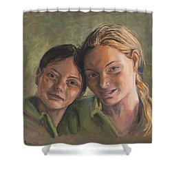 Two Sisters Shower Curtain by Marco Busoni