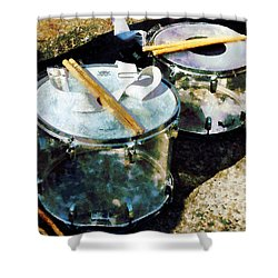 Two Snare Drums Shower Curtain by Susan Savad