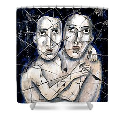 Two Souls - Study No. 2 Shower Curtain by Steve Bogdanoff