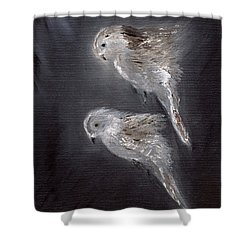 Shower Curtain featuring the painting Two Spirits In The Night by Barbie Batson