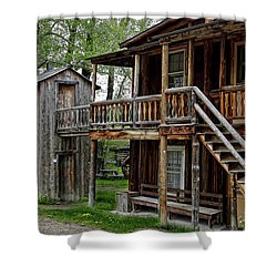 Two Story Outhouse - Nevada City Montana Shower Curtain by Daniel Hagerman