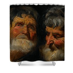 Two Studies Of The Head Of An Old Man Shower Curtain by Jacob Jordaens