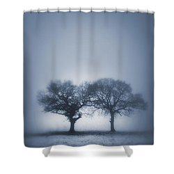 Two Trees In Blue Fog Shower Curtain by Lee Avison