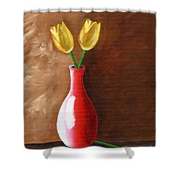Two Tulips And A Pink Rose Shower Curtain by Laura Forde