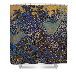 Two Turtle Doves In A Pear Tree Shower Curtain by First Star Art