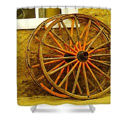 Two Wagon Wheels Shower Curtain by Jeff Swan