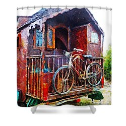 Two Wheels On My Wagon Shower Curtain