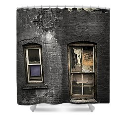 Two Windows Old And New - Old Building In New York Chinatown Shower Curtain by Gary Heller