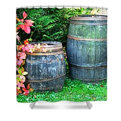 Two Wine Barrels And Red Ivy Digital Print Shower Curtain by Greg Matchick