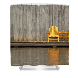 Two Wooden Chairs On An Old Dock Shower Curtain by Les Palenik
