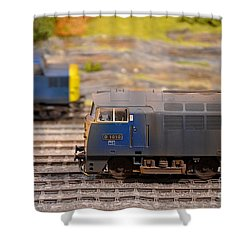 Shower Curtain featuring the photograph Two Yellow Blue British Rail Model Railway Train Engines by Imran Ahmed