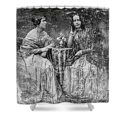 Two Young Antebellum Ladies Almost Lost To Time Shower Curtain by Daniel Hagerman