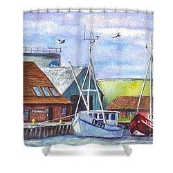 Tyboron Harbour In Denmark Shower Curtain by Carol Wisniewski