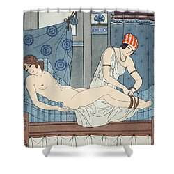 Tying The Legs Together Shower Curtain by Joseph Kuhn-Regnier