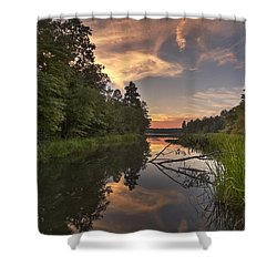 Shower Curtain featuring the photograph Tyler State Park Lake At Sunset by Todd Aaron