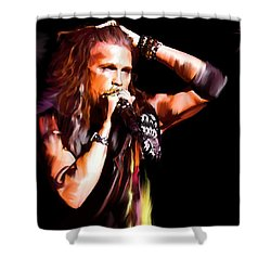 Steven Tyler  Tyler II Shower Curtain by Iconic Images Art Gallery David Pucciarelli