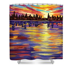 Shower Curtain featuring the painting Tyler's Sunrise by Tim Gilliland