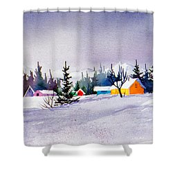 Shower Curtain featuring the painting Tyonek Village Impression by Teresa Ascone