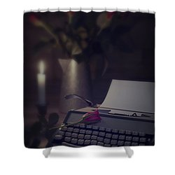 Typewriter By Candlelight Shower Curtain by Amanda Elwell