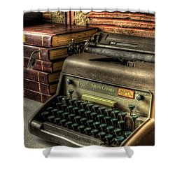 Typewriter Shower Curtain by David Morefield