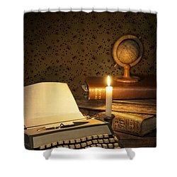 Typewriter With Globe Shower Curtain by Amanda Elwell