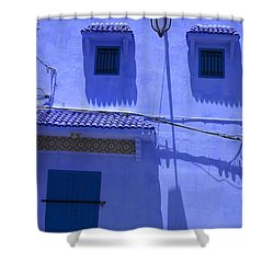 Shower Curtain featuring the photograph Typical Blue Facade In The Medina Of Asilah On Northwest Tip Of Atlantic Coast Of Morocco by Ralph A  Ledergerber-Photography