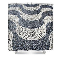 Typical Portuguese Handmade Cobblestone Pavement Shower Curtain by Jose Elias - Sofia Pereira