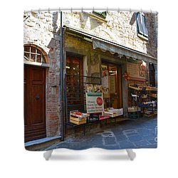 Shower Curtain featuring the photograph Typical Small Shop In Tuscany by Ramona Matei