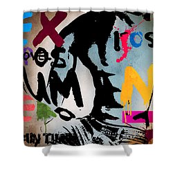 Typography Male  Shower Curtain by Mark Ashkenazi