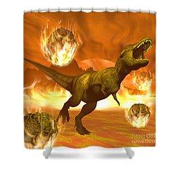 Tyrannosaurus Rex Struggles To Escape Shower Curtain by Elena Duvernay