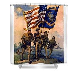U. S. Marines Spirit Of 1917 Shower Curtain by Daniel Hagerman