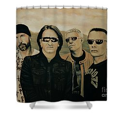 U2 Silver And Gold Shower Curtain by Paul Meijering
