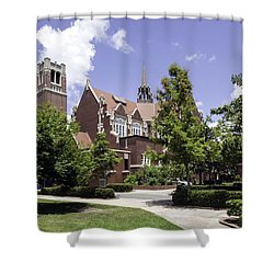 Uf University Auditorium And Century Tower Shower Curtain by Lynn Palmer