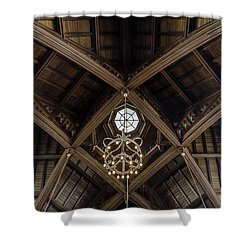 Uf University Auditorium Vaulted Wooden Arches Shower Curtain by Lynn Palmer