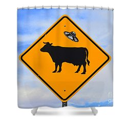 Ufo Cattle Crossing Sign In New Mexico Shower Curtain by Catherine Sherman