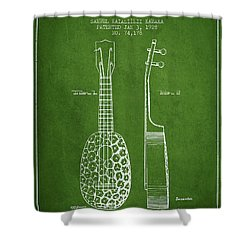 Ukulele Patent Drawing From 1928 - Green Shower Curtain