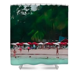 Umbrella Beach Shower Curtain by Perry Webster