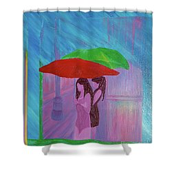 Shower Curtain featuring the painting Umbrella Girls by First Star Art