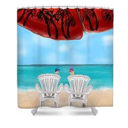 Umbrella View Shower Curtain by Christine Fournier