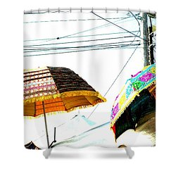 Shower Curtain featuring the photograph Umbrellas And Wires by Marianne Dow