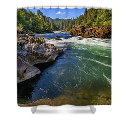Shower Curtain featuring the photograph Umpqua River by David Millenheft